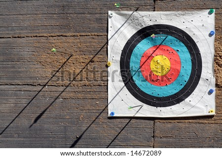 Target on an old wall - stock photo