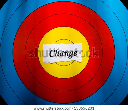 Target on change concept, conceptual word on color target paper. - stock photo