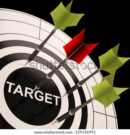 Target On Dartboard Shows Perfect Aiming Or Business Goals - stock photo