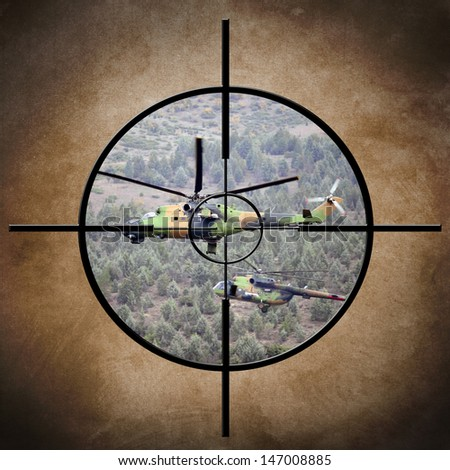 Target on helicopter - stock photo