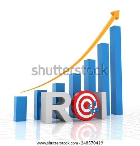 Target return on investment, 3d render, white background - stock photo