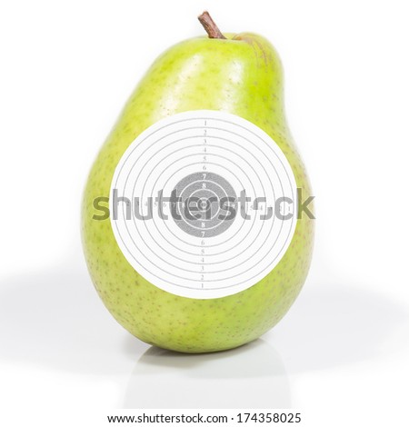 Target ripe pear green reflection isolated white background - stock photo