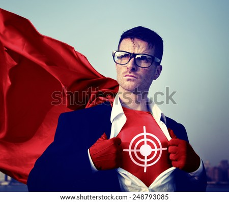 Target Strong Superhero Success Professional Empowerment Stock Concept - stock photo