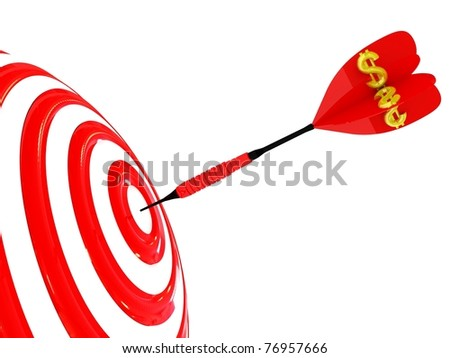 Target. Success concept with dollar symbol. 3d illustration.