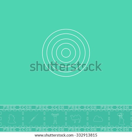 Target. White outline flat icon and bonus symbol. Simple illustration pictogram on green background