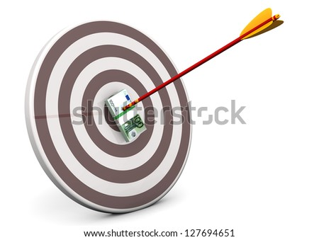 Target with arrow and euro notes. White background.