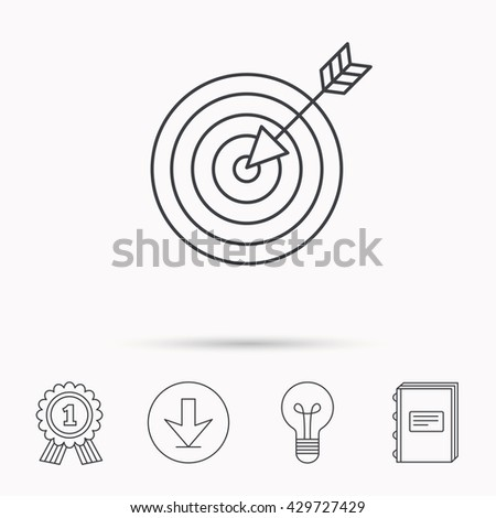 Target with arrow icon. Dart aim sign. Download arrow, lamp, learn book and award medal icons. - stock photo
