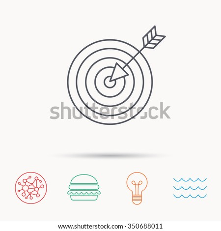 Target with arrow icon. Dart aim sign. Global connect network, ocean wave and burger icons. Lightbulb lamp symbol. - stock photo