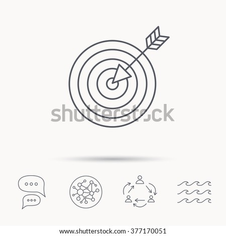 Target with arrow icon. Dart aim sign. Global connect network, ocean wave and chat dialog icons. Teamwork symbol. - stock photo