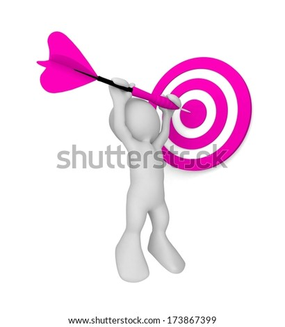 Target with 3d human. Success concept. 3d illustration - stock photo