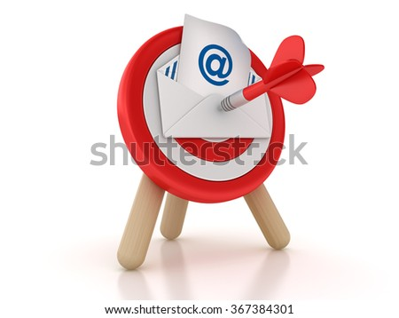 Target with Email - High Quality 3D Rendering - stock photo