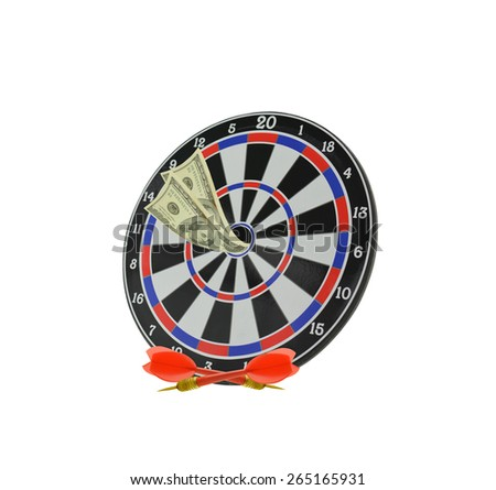 Target with One Hundred dollar bill in Bulls eye and darts isolated on white background - stock photo