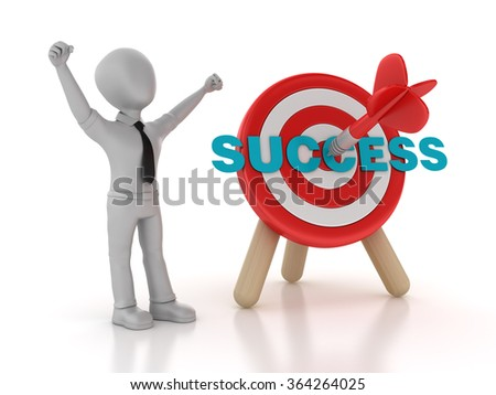 Target with Success Word and Businessman - High Quality 3D Rendering - stock photo