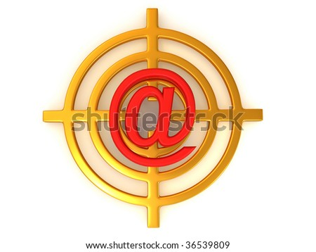 Target with symbol of mail. 3d - stock photo