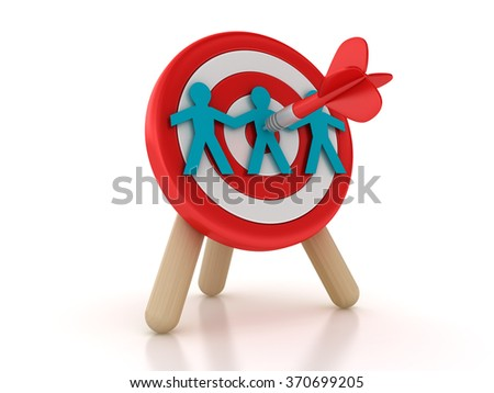 Target with Teamwork - High Quality 3D Rendering  - stock photo