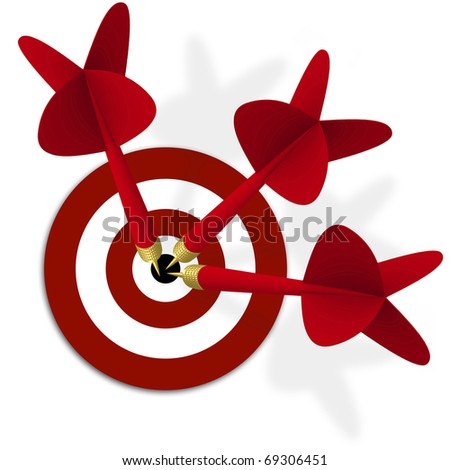 target with three red darts in center - stock photo
