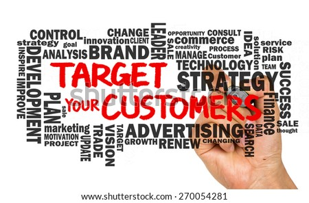 target your customers concept with related word cloud handwritten on whiteboard