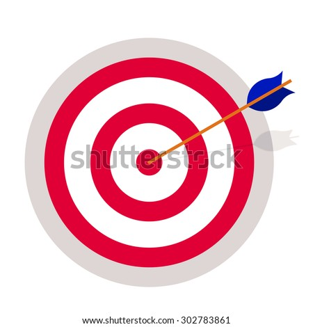Targeting, achievement. Target hit by an arrow