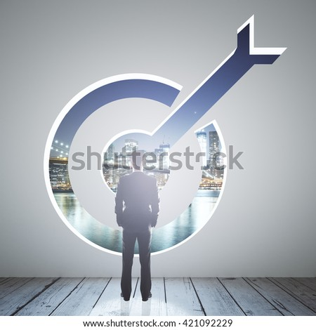 Targeting concept with businessman looking at nigth city through opening in concrete wall. 3D Rendering - stock photo