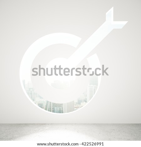 Targeting concept with opening in concrete wall and city view. 3D Rendering - stock photo