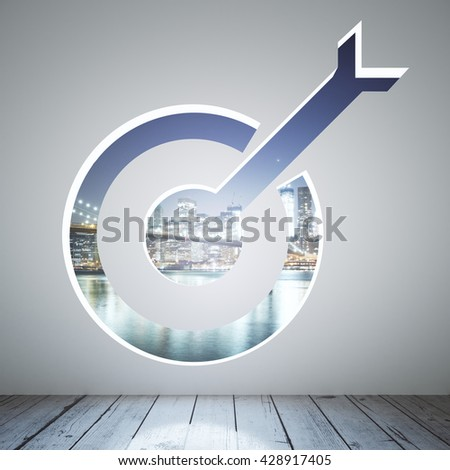 Targeting concept with opening in concrete wall and night city view. 3D Rendering - stock photo