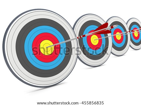 Targets with arrows on the white background. 3d illustration.