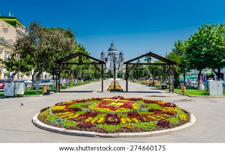 Targu Mures city center with ortodox church in the Roses Square. - stock photo