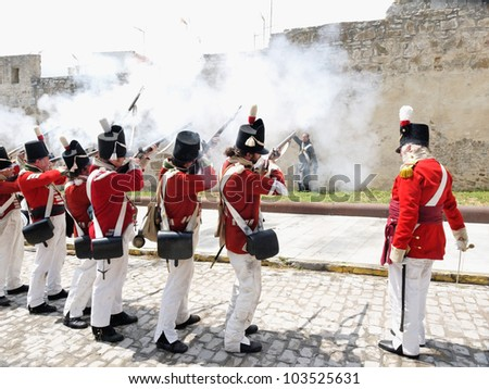TARIFA, ANDALUSIA, SPAIN - MAY 18 : reenactment of the Siege of Tarifa during the independence wars in Spain in the year 1812 reenacted by british soldiers, executing a french,  May 18, 2012 in TARIFA, ANDALUSIA, SPAIN