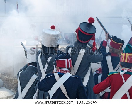 TARIFA, ANDALUSIA, SPAIN - MAY 18 : reenactment of the Siege of Tarifa during the independence wars in Spain in the year 1812 reenacted by french soldiers, attacking, May 18, 2012 in TARIFA, ANDALUSIA, SPAIN