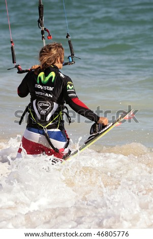 TARIFA - JULY 5: Participants in Movistar International Championships of Kite surfing on July 5, 2008 in Tarifa, Spain.