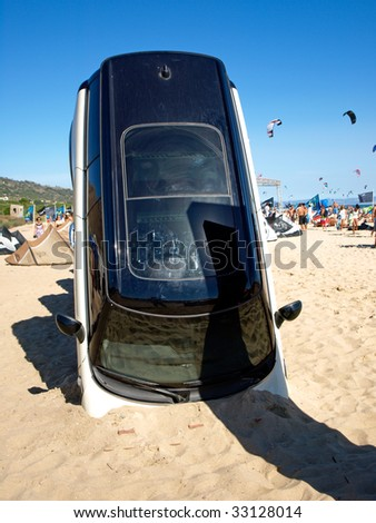 TARIFA, SPAIN - July 4: Presentation of the BMW Mini in the Kiteboard Pro World Tour 2009 in Tarifa, BMW Mini was one of the sponsors of this event in Tarifa, Andalusia, Spain, July 4, 2009 - stock photo