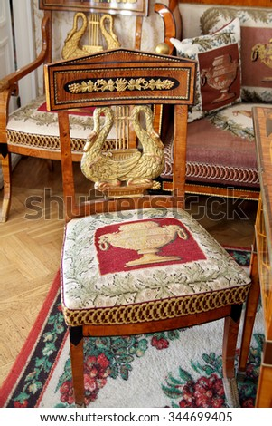 TARKHANY, RUSSIA - AUGUST 19, 2012: Antique chair in the living room manor house in the family estate of Lermontov Tarkhany, Penza region