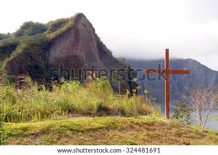 TARLAC, PH- Oct. 5: Crater of Mount Pinatubo cross on October 5, 2015 in Tarlac, Philippines. Lake Pinatubo is the summit crater lake of Mt, Pinatubo formed after its climactic eruption on June 1991. - stock photo