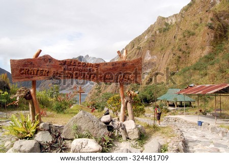 TARLAC, PH- Oct. 5: Crater of Mount Pinatubo sign on October 5, 2015 in Tarlac, Philippines. Lake Pinatubo is the summit crater lake of Mt, Pinatubo formed after its climactic eruption on June 1991. - stock photo
