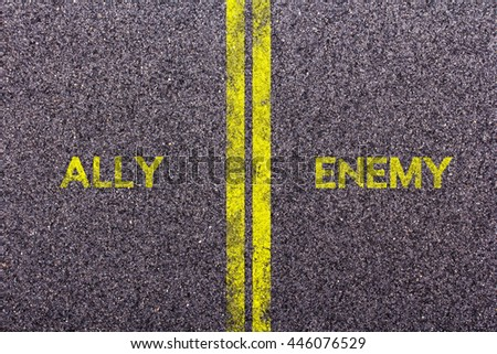 Tarmac background with the words ally and enemy