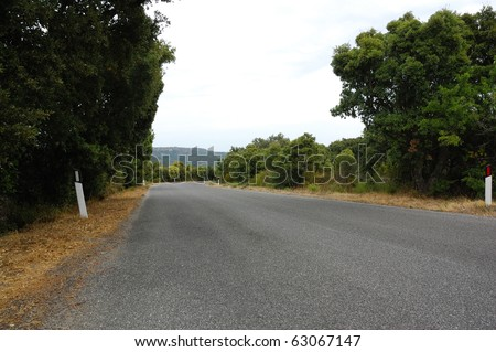 Tarmac road in inland - italy - sardinia - stock photo