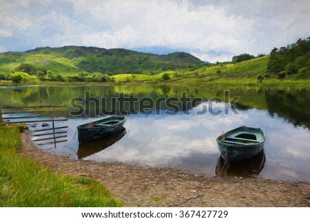 Tarn with two rowing boats Watendlath Lake District Cumbria England between the Borrowdale and Thirlmere valleys close to Derwent Water illustration like oil painting