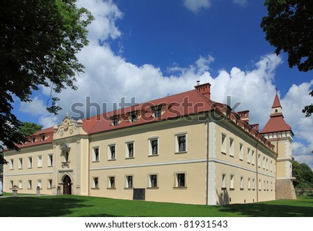 Tarnowskie Gory castle - old landmark in Poland. Architecture in Europe.