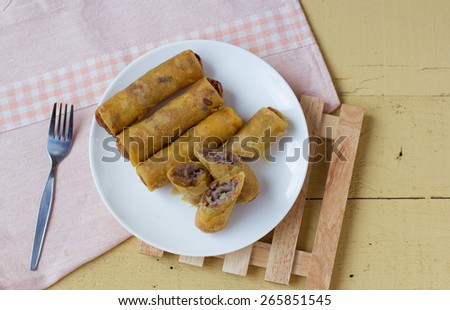 Taro fry spring roll cambodia and thai style food - stock photo