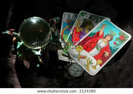tarot cards and crystal ball - stock photo