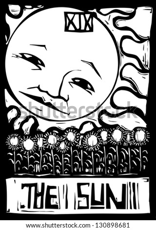 Tarot number nineteen the sun with face and sunflowers. - stock photo