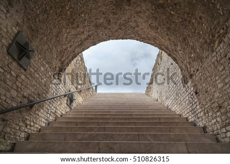 TARRAGONA,SPAIN-JULY 14,2012: Roman circus, ruins roman legacy in ancient Tarraco, ancient stairway to sky, Tarragona, Catalonia, Spain.