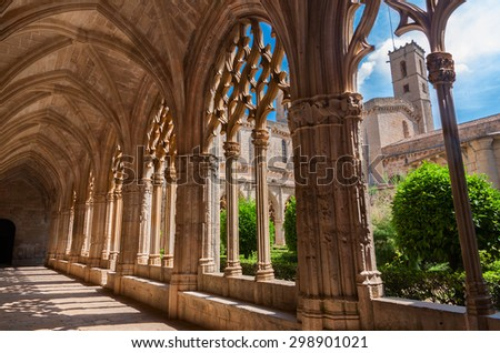 TARRAGONA, SPAIN - JULY 19: Santes Creus Monastery on July 19, 2015 in Tarragona. The monastery's origins date to 1158 and is part of the Cistercian route in Catalonia. - stock photo