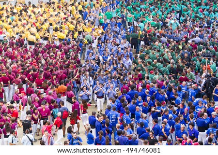 TARRAGONA, SPAIN - OCTOBER 2016 - Those typical catalan human towers are performed. The XXVI Tarragona Human Tower Competition on October 1, 2016 in Tarragona, Spain.
