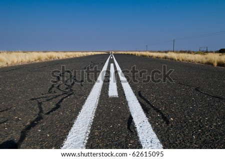 Tarred road, Namibia - stock photo