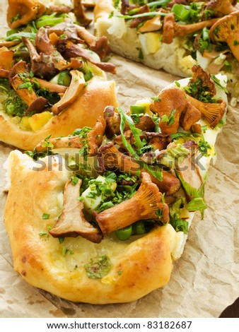 Tart with eggs, chanterelles and green onion. Shallow dof. - stock photo