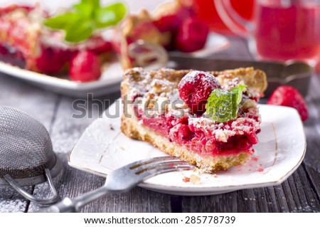tart with ripe strawberries, top view, sweet food - stock photo