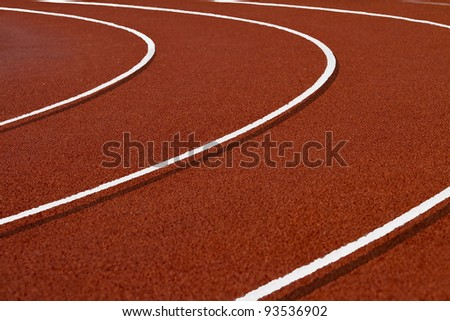 Tartan racetrack curve with 3d markings - stock photo