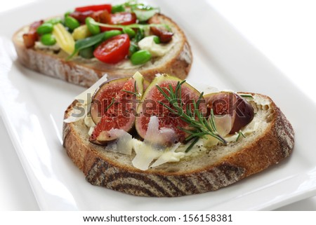 tartine, open sandwich isolated on white background