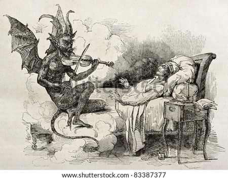 Tartini dream old illustration: Famous composer and violinist of the Republic of Venice. Created by J. Boilly after Boilly father, published on Magasin Pittoresque, Paris, 1840 - stock photo